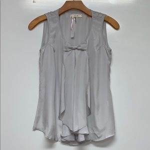 New COMME TOI Bow Grey Blouse Top